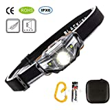 LED Headlamp Lightest Ultra Bright(Only 1.69Ounce),7 Lighting Modes,IPX6 Waterproof,Best Headlamp for Running,Camping,Hiking and Kids(Black)