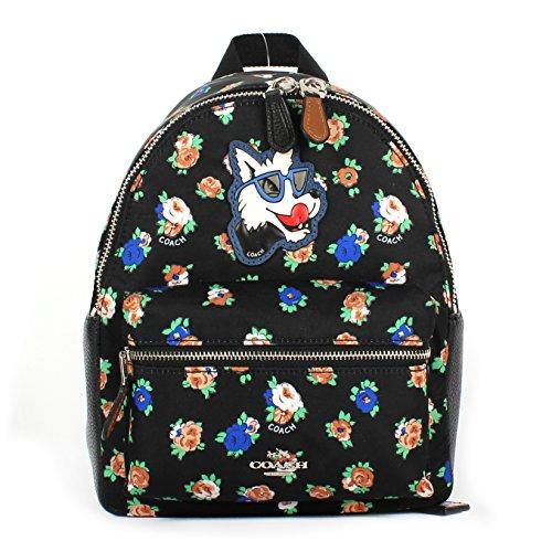 Coach F57636 Mini Charlie Nylon Backpack In Tea Rose Floral Print Black Multi