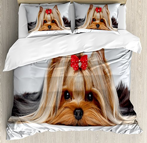 Ambesonne Yorkie Duvet Cover Set Queen Size, Lying Yorkshire Terrier with Cute Ribbon Yorkie Love Portrait of a Dog, Decorative 3 Piece Bedding Set with 2 Pillow Shams, Pale Caramel Sand Brown