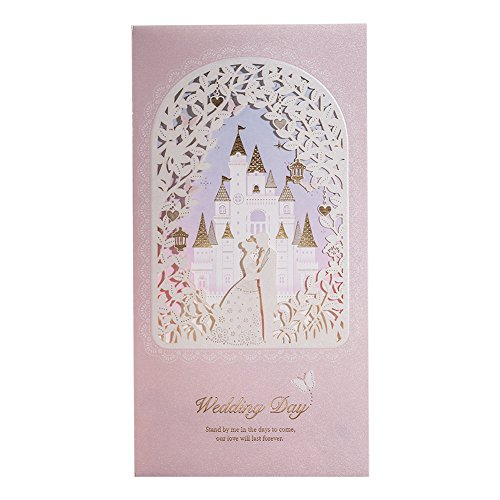 (WISHMADE 50 Blush Shimmer Floral Laser Cut Gold Foil Invitations for Wedding, with Princess and Prince Castle Design, Engagement Bridal Shower Invites with Envelopes CW6073)