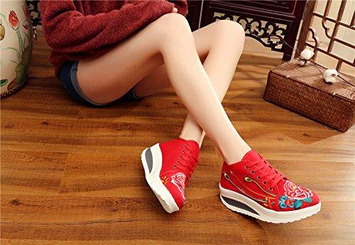 Plate Forme Fond Voyager Chaussures Mode brodé Tissu Femmes Chaussures Florales Printemps épais Baskets Toner Fleurs 6H8qnzx4