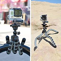USA Gear Flexible Action Cam Tripod for GoPro HERO5 Black , HERO5 Session & Garmin VIRB Ultra 30 w/Bendable Wrapping Legs , Articulating Ball Head & Quick-Release Plate - Works w/Many Action Cameras