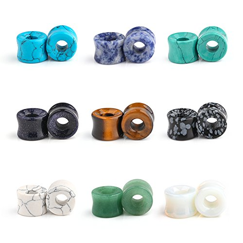 Ruifan 9 Pairs Set Natural Mixed Stone Saddle Ear Plugs Stretcher Expander Tunnels Gauges Piercing Jewelry 00g(10mm) (Eye Gauge)