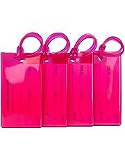 Pack de 4 étiquettes de Bagage TravelMore, étiquettes d'identification en Silicone Souple pour Sacs et valises – Rose Vif