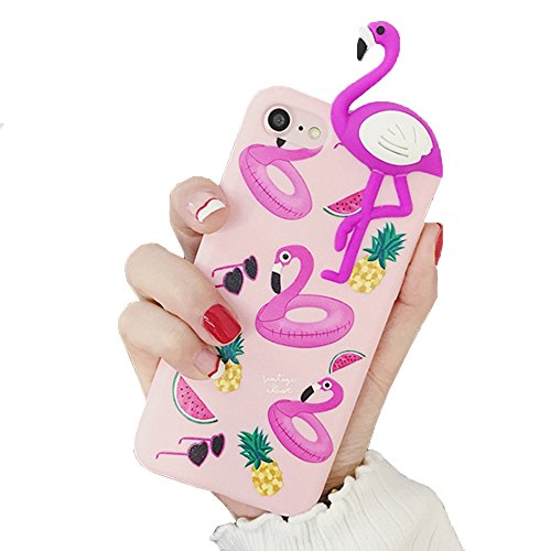 iPhone 6 / iPhone 6S Hülle Flamingo 3D Tier Design Fashion Case Silikon TPU Handyhülle in Pink / Rosa für Mädchen / Frauen / Girls von wortek