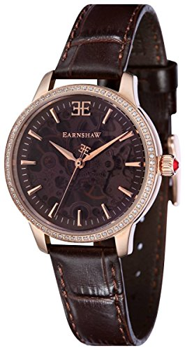 Thomas Earnshaw Womens The Lady Australis Watch - Brown/Rose Gold