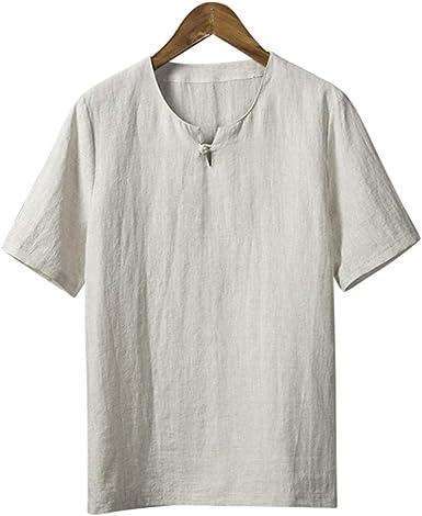 Moda para Hombre Hecha a Mano Algodón Lino Ropa de Vestir Larga/Corta / Camisa de Manga Tres Cuartos #109: Amazon.es: Ropa y accesorios