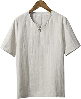 Moda para Hombre Hecha a Mano Algodón Lino Ropa de Vestir Larga/Corta / Camisa de Manga Tres Cuartos #109