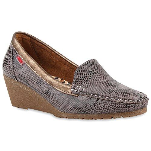 Stiefelparadies Damen Komfort Schuhe Perlen Pumps Schleifen Keilpumps Slipper Flandell Grau Brito