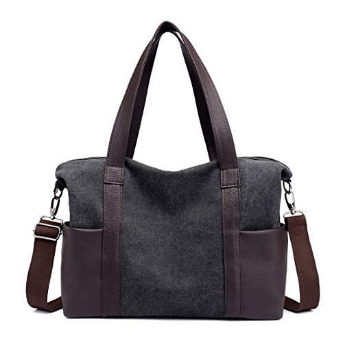 Uwelucky Women's Multi-pockets Shoulder Bags Fashion Canvas Messenger Bag Tote Bags (Black)
