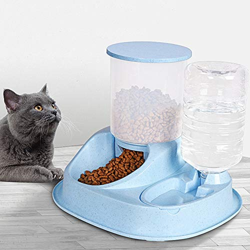 Shuohu Automatic Food and Water Dispenser | Food Bowl Feeder Drinking Bottle for Pet Dog Cats Puppy Kitty Pink