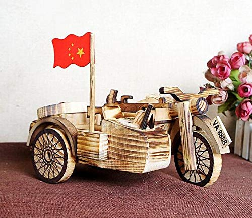 Three Wheeled Motorcycle - ZAMTAC Popular Toy Wooden Three-Wheeled Motorcycle Model Wooden Handicraft Side Three Rounds - (Size: 1pc)