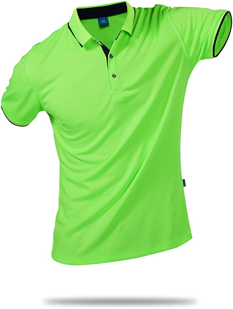 SanVera17 Unisex Casual Classic Solid Color Polo Shirts Short Sleeve Quick-Dry T-Shirt