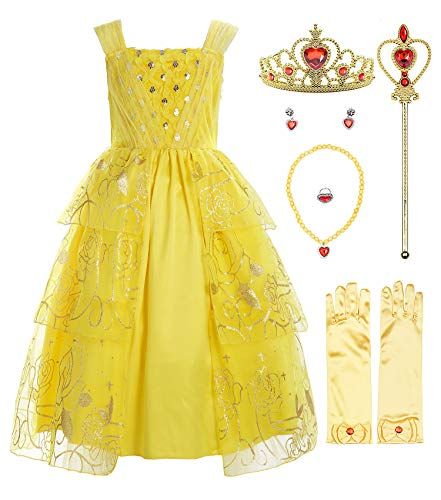ReliBeauty Girls Sleeveless Sequin Princess Belle Costume Dress