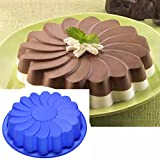 Molyveva Silicone Large Flower Cake Mould Chocolate Soap Candy Jelly Mold Baking Pan, 24.5*5.5cm