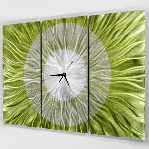 Abstract Modern Bright Green and Silver Metal Wall Clock - Hand-