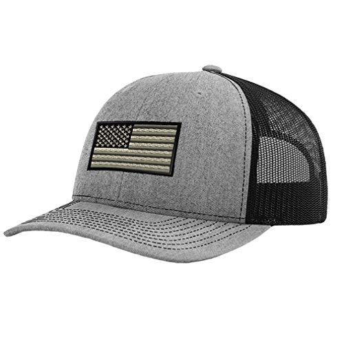 Branded American Flag (Speedy Pros Black White American Flag Embroidery Richardson Structured Front Mesh Back Cap Heather Gray/Black)