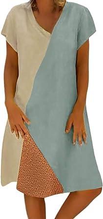 Tomwell Vestidos De Mujer Verano Costura De Color V Cuello Manga Corta Vestido De Lino Tallas Grandes Mini Vestido Amazon Es Ropa Y Accesorios