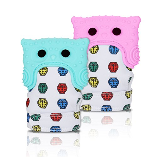 Accmor Baby Teething Mitten, 2 Pack Food-Grade Cute Owl Teething Glove Teething Mitt for Self-Soothing Pain Relief, BPA-Free, Unisex Teething Toys for 3-12 months Baby & Infant (Pink & Mint Green)