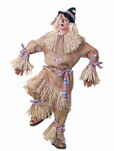 Deluxe Scarecrow Mask (Men's Deluxe Scarecrow Costume, Beige/Plaid, One Size)
