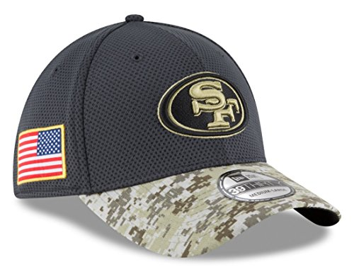 New Era 39Thirty Hat San Francisco 49ers NFL 2016 Salute to Service Gray/Camo Cap (M/L)