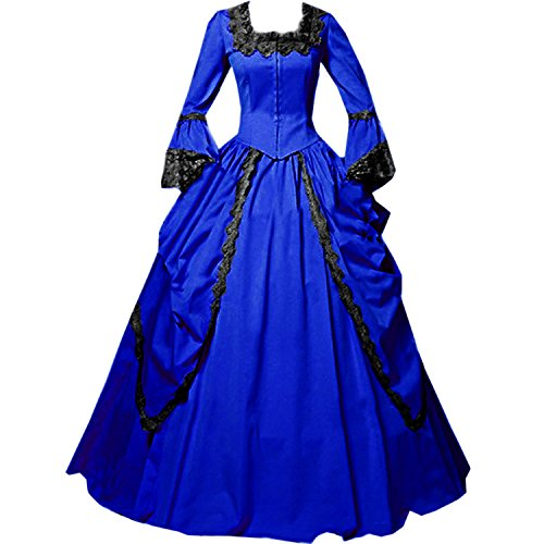 I-Youth Womens Lace Marie Antoinette Masked Ball Victorian Costume Dress (M, Royal Blue)]()