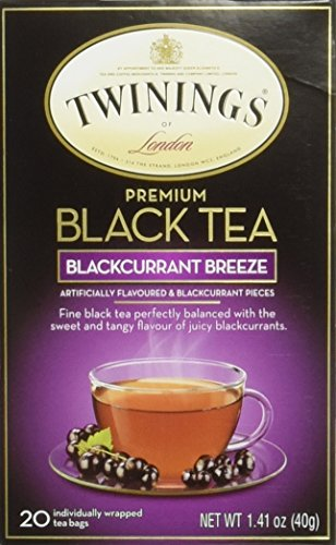 Twinings Blackcurrant Tea, Tea Bags, 20-Count Boxes (Pack of 6) ()