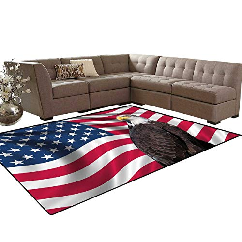 Eagle Bath Mats for Floors Patriotic Symbols of The Land with an American Flag with a Bald Eagle Nationalism Floor Mat Pattern 5'x7' Multicolor ()