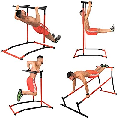 GoBeast Pull Up Bar Dip Stand - Power Tower - Calisthenics Outdoor Workout Station - Multiple Exercises - Portable Gym Includes Instruction Manual and Storage Bag - Max User Weight 240lbs by Rettun LLC