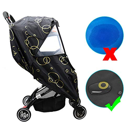 Wonder buggy Universal Stroller Weather Shield Rain Cover with Bubble,Waterproof, Windproof Protection, Travel-Friendly, Outdoor Use, Easy to Install and Remove (Black) - coolthings.us