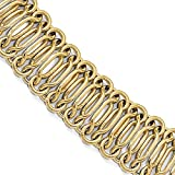 Roxx Fine Jewelry 20mm Fancy Woven Double Link Hourglass Italian Bracelet with Large Spring Ring 14K Yellow Gold