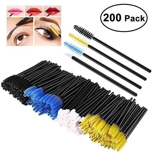 PIXNOR 200 Pack Disposable Eyelash Mascara Brushes Wands Applicator Brush Kit, with Lip Brushes Lipstick Lip Gloss, Multi-color