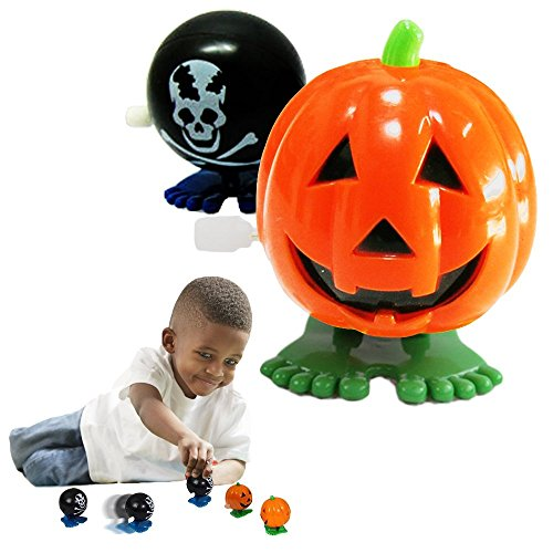 Price comparison product image Halloween Pumpkins - Toy Cubby Party Favor Jumping Wind-Up Skull Face Pumpkins - 6 Pieces - Click Add To Cart and Join The Lucky Bunch of Toy Cubby Satisfied Customers!
