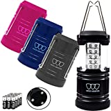 Gold Armour 4 Pack LED Camping Lantern Portable Flashlight with 12 aa Batteries – Survival Kit for Emergency, Hurricane, Power Outage Great