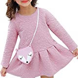 Exteren Toddler Girl Kids Baby O-Neck Mini Flower Long Sleeve Skirt Princess Strap Dress Clothes Set