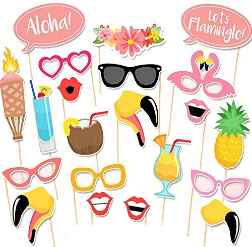 [Photo Booth Props DIY Flamingo Kit 21 piece Hawaii Holiday Photobooth Dress-up Accessories & Beach Party Favors Summer Festivals Celebrations] (Make Coconut Bra Costume)