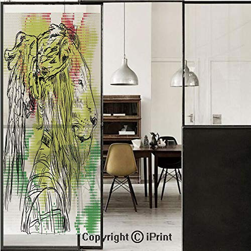 (Rasta 3D Decorative Film Privacy Window Film No Glue,Frosted Film Decorative,Black and White Sketchy Head of Lion on Digital Pixels Backdrop Image Decorative,for Home&Office,17.7x70.8Inch Green Burgun)