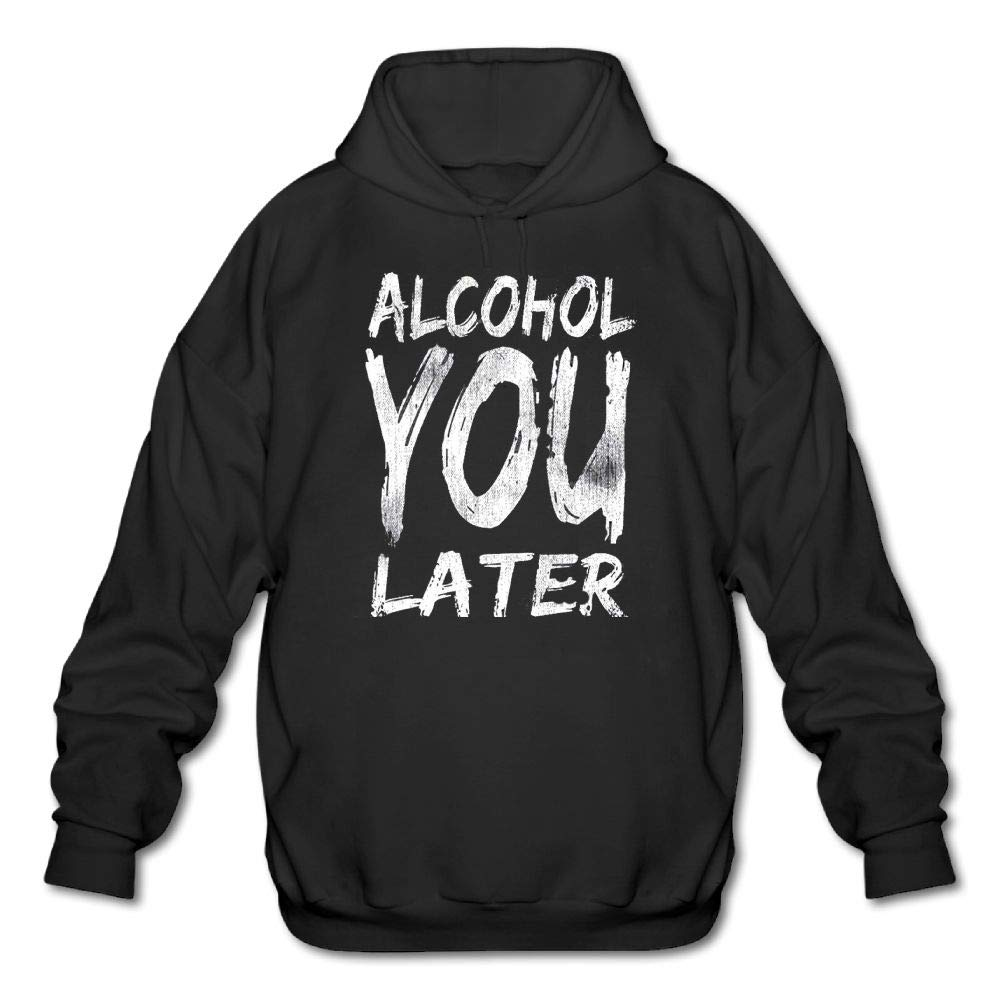 Haoshouru Mens Long Sleeve Cotton Hoodie Alcohol You Later.1 Sweatshirt