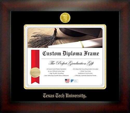 Celebration Frames Texas Tech University 11 x 14 Mahogany Finish Infinity Diploma Frame
