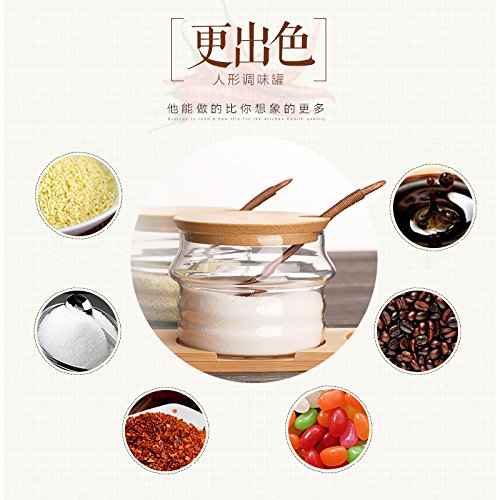 HaloVa Spice Jars Glass Seasoning Box Set Salt Sugar Spice Pepper Condiment Container Kitchen Cruet Seasonings Tools with bamboo Spoon Cover Pedestal Set of 3