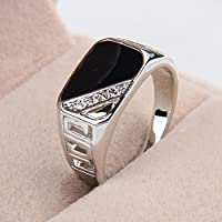 Size 8,9,10,11, Fashion Men Metal Alloy Black Onyx Silver Gemstone Wedding Ring#by pimchanok shop (11)