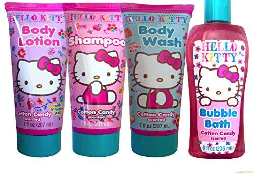Hello Kitty Bath and Body Shower Gift Set Includes Hello Kitty Shampoo , Bubble Bath,body Wash , and Body Lotion - Hello Kitty Bath Set