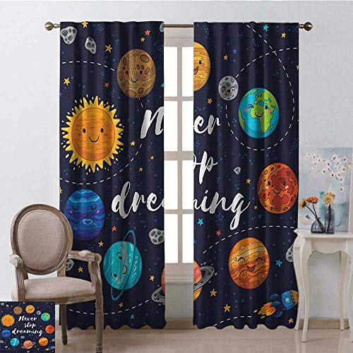youpinnong Quote, Curtains Darkening, Outer Space Planets and Star Cluster Solar System Moon and Comets Sun Cosmos Illustration, Curtains for Doors with Windows, W72 x L84 Inch, Multi
