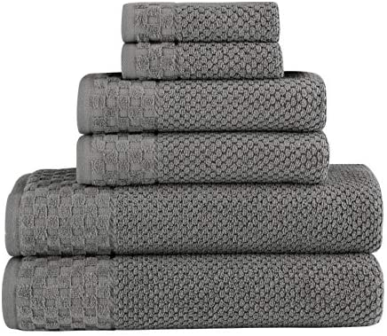 Classic Turkish Towels Luxury 6 Piece Cotton Bath Towel Set - Jacquard Woven Soft Textured Grey Towels Made with 100% Turkish Cotton