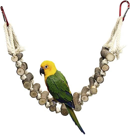 LCY-YCY Pájaro de Juguete Loro Puente Colgante de Madera con Escalera de Cuero Escalera Escalada Cuerda Escalera de Cuerda Puente Suave Mascotas Rompecabezas Suministros Jaula de pájaros Decoración: Amazon.es: Productos para mascotas