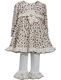Baby Girls Newborn Brown/Ivory Leopard Print Fuzzy Knit Dress/Legging Set