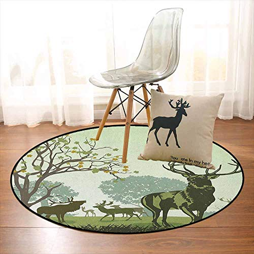 Antlers Children's Bedroom Carpet Deer and Wildlife in Park World Natural Heritage Forest Areas Reindeer Nature Scene Soft Fluffy D47.2 Inch Green