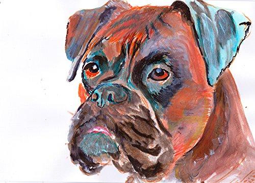 Boxer Dog Painting Art Print, Boxer Dog Owner Gift Idea, Boxer Owner Gift, Brindle Boxer Dog Wall art, Hand Signed Boxer Dog Wall Hanging - Brindle Boxer Gifts Dog