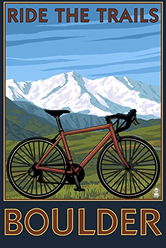 Boulder, Colorado - Mountain Bike (24x36 SIGNED Print Master Giclee Print w/Certificate of Authenticity - Wall Decor Travel Poster)