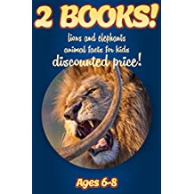 2 Bundled Books: Facts About Lions & Elephants For Kids Ages 6-8: Amazing Animal Facts And Pictures: Clouducated Blue Series Nonfiction For Kids